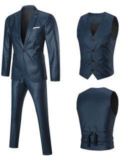 One Button Slim Fit 3 Piece Business Suit - Blue 5xl