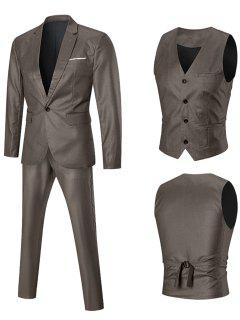 One-button Slim Fit Three Piece Suit Separates - Golden 3xl