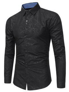 Camisa Geométrica De La Impresión Del Cuello - Negro L