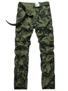 Zipper Fly Camouflage Swallow Gird Cargo Pants - Army Green 32