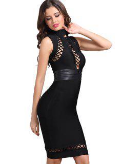 High Neck Hollow Out Bandage Dress - Black L