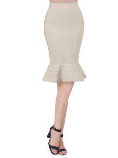 High Waist Bandage Mermaid Skirt - Apricot S