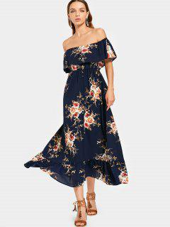Overlap Floral Off Shoulder Midi Dress - Floral L