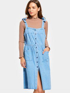 Denim Button Up Pinafore Dress - Denim Blue M