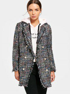 Heathered Double-breasted Tweed Coat - Black M
