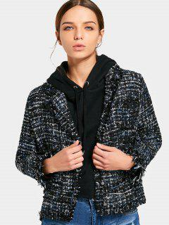 Button Up Frayed Tweed Blazer - Black M