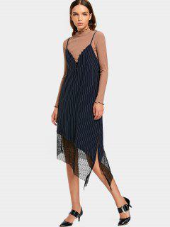 Lace Panel Stripes Slip Asymmetrical Dress - Purplish Blue L