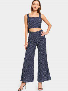 Slit Polka Dot Flare Pants - Purplish Blue M