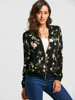 Zip Up Floral Leaf Print Bomber Jacket - M