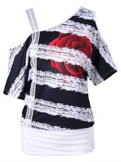 Skew Neck Floral Print T-shirt - White M