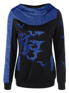 Halloween Bat Print Marled Hoodie - Blue M