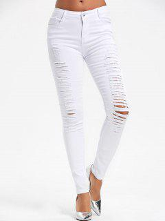 High Waist Ripped Skinny Pants - White L