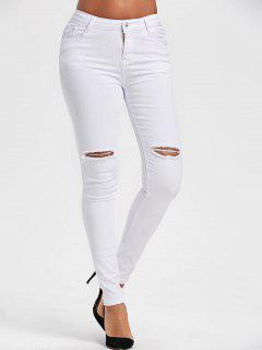 Ripped High Waist Skinny Pants - White 2xl