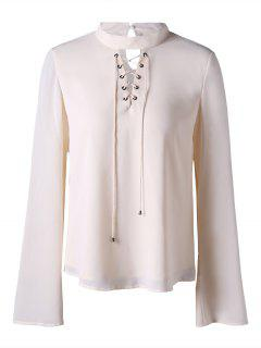 Mock Neck Lace Up Blouse - Blanc Cassé 2xl
