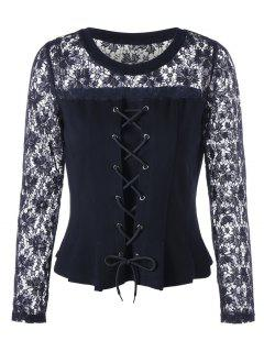 Lace Panel Lace-up Peplum Blouse - Black Xl