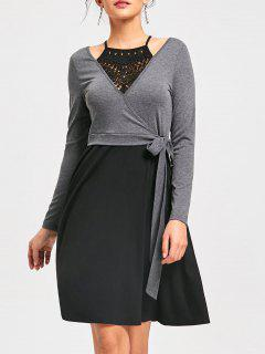 Crochet Trim Fit And Flare Dress - Black And Grey 2xl