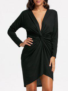 Long Sleeve Twist Front Low Cut Dress - Black S