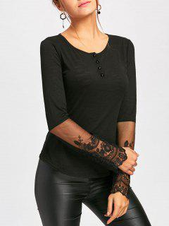 Lace Insert Henley Tee - Black L