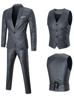 Chest Pocket Three-piece Business Suit - Silver 5xl