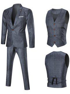 Argyle Pattern Slim Fit Three Piece Suit - Pearl Dark Grey 5xl