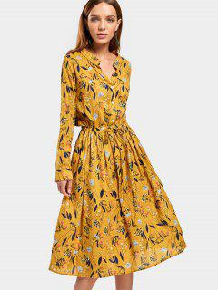 Drawstring Waist Long Sleeve Floral Dress - Floral L