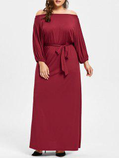 Plus Size Off The Shoulder Belted Maxi Dress - Wine Red 3xl