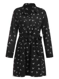 Plus Size Bird Print Belted Dress - Black 4xl
