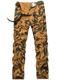 Zipper Fly Camouflage Swallow Gird Cargo Pants - Earthy 36