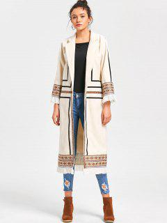 Tribal Print Longline Fringe Coat - Off-white 2xl