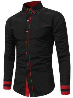 Color Block Panel Slim Fit Shirt - Black L