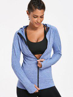 Heathered Hooded Sports Jacket - Blue M