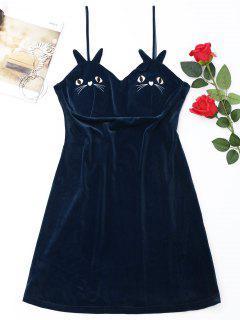 Robe Mini De Nuit En Velours Et Brodée De Chat   - Bleu M