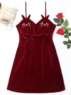 Robe Mini De Nuit En Velours Et Brodée De Chat   - Rouge L