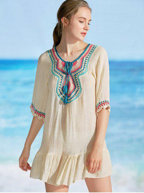 Ruffles Crochet Panel Cover Up Dress - Abricot TAILLE MOYENNE Mobile