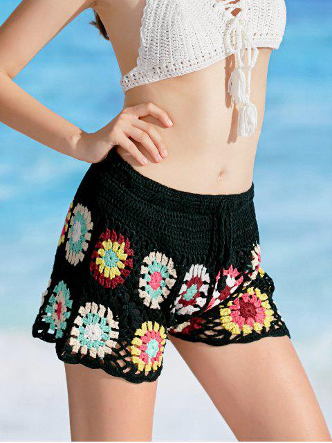 womens Overlay Flower Crochet Cover Up Shorts - BLACK ONE SIZE Mobile