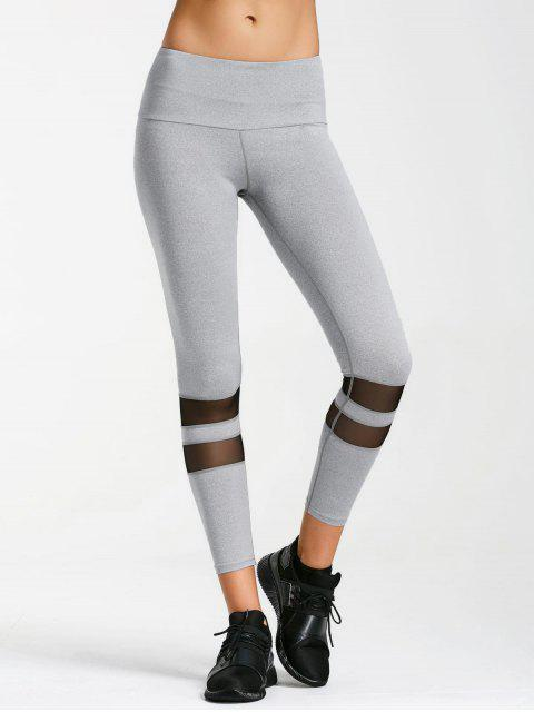 unique Mesh Active Yoga Leggings - GRAY M Mobile