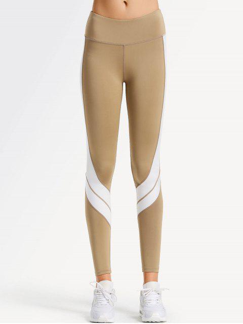 hot Two Tone Active Yoga Leggings - LIGHT KHAKI XL Mobile