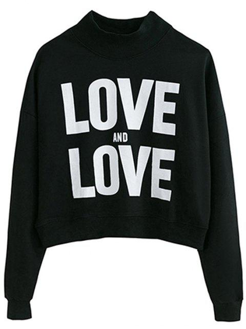 ladies High Neck Letter Graphic Swearshirt - BLACK ONE SIZE Mobile