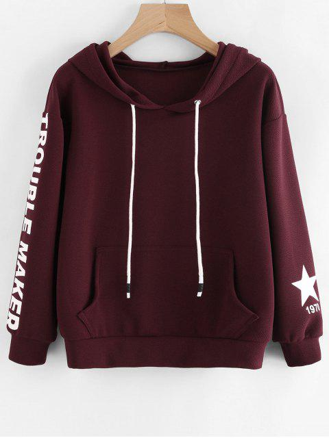 shop Letter Graphic Drop Shoulder Drawstring Hoodie - WINE RED S Mobile