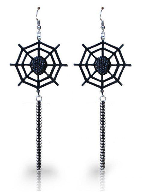 best Spider Web Halloween Longline Fish Hook Earrings - BLACK  Mobile