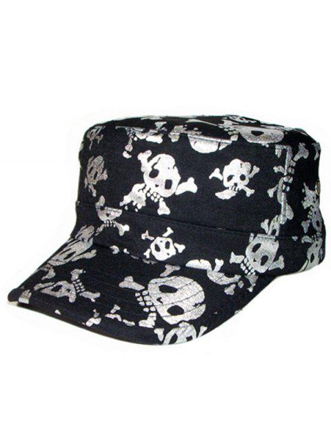 Shimmer Skull Impreso Flat Top Military Hat - Plata  Mobile