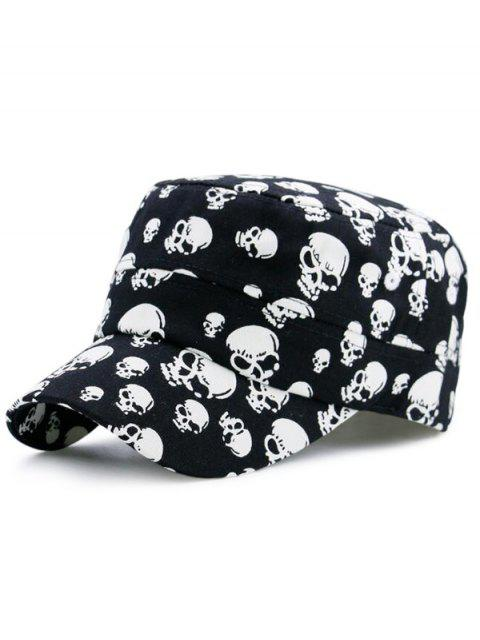 best Skull Printed Flat Top Military Hat - BLACK  Mobile