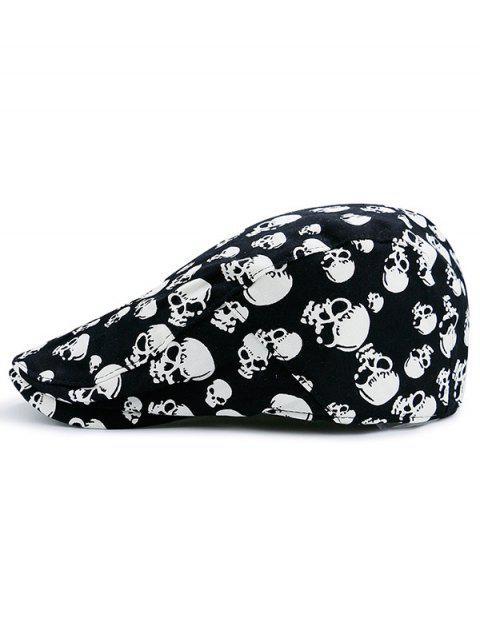 lady Skull Printed Adjustable Newsboy Hat - BLACK  Mobile