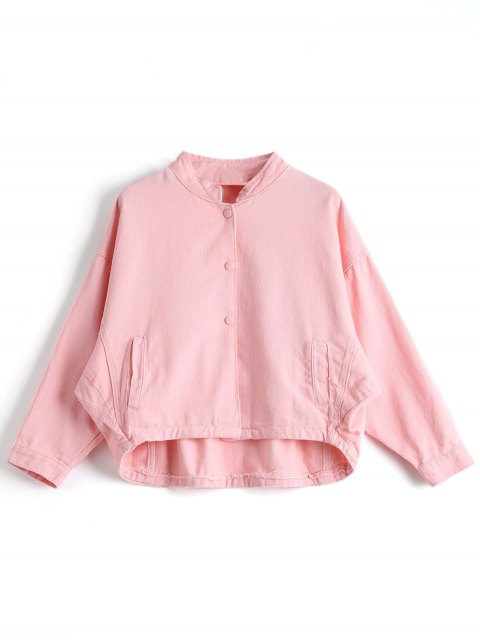 shop Front Buttons Stand Neck Denim Jacket - PINK L Mobile