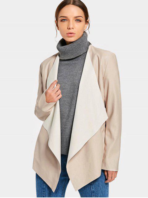 fancy Open Front Faux Leather Jacket - APRICOT L Mobile