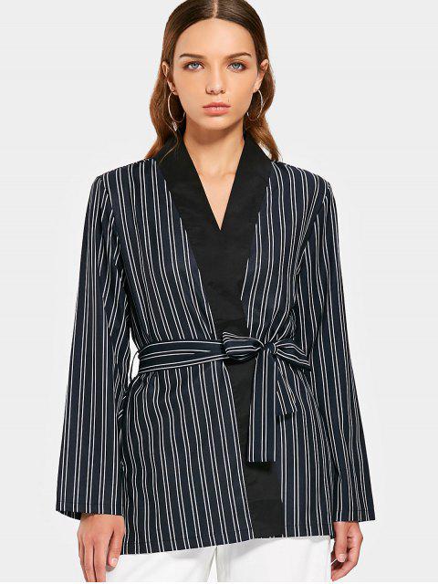 best Long Sleeve Belted Stripes Blazer - STRIPE M Mobile