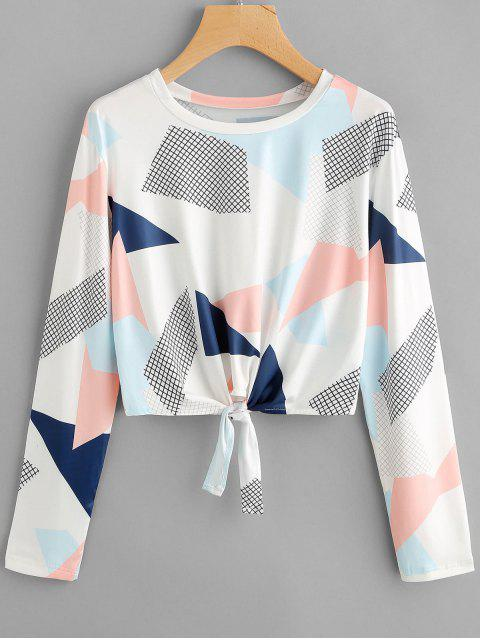 latest Self Tie Long Sleeve Geometric Print Tee - MULTI XL Mobile