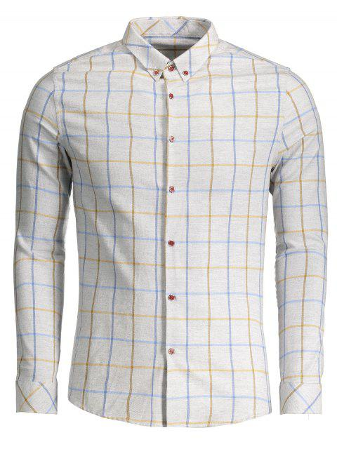 trendy Checked Flannel Shirt - LIGHT GRAY XL Mobile