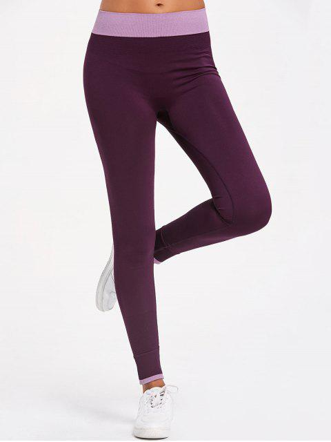 womens Contrast Trim Workout Leggings - PURPLE M Mobile