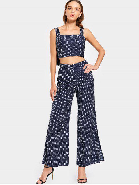 latest Slit Polka Dot Flare Pants - PURPLISH BLUE L Mobile